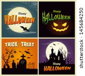 happy halloween card. set of... | Shutterstock .eps vector #145684250
