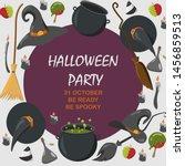 halloween vector background.... | Shutterstock .eps vector #1456859513