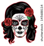 day of the dead girl with sugar ... | Shutterstock .eps vector #145688114