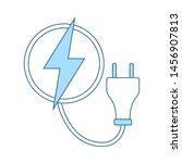 electric plug icon. thin line...