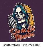 dia de los muertos colorful... | Shutterstock .eps vector #1456921580