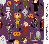seamless pattern. funny girls... | Shutterstock .eps vector #1456938929