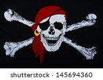 Jolly roger on black textiles...