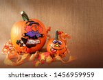pumpkins orange with a painted... | Shutterstock . vector #1456959959