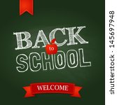 Back to school poster with text on chalkboard. Vector illustration