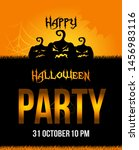 vector halloween party poster... | Shutterstock .eps vector #1456983116