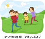 illustration of stickman family ... | Shutterstock .eps vector #145703150