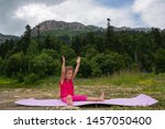 girl doing yoga in nature on a... | Shutterstock . vector #1457050400
