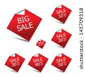 red color big sale tags with... | Shutterstock .eps vector #145709318