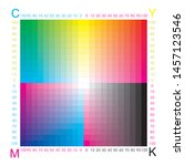 cmyk press color chart. color... | Shutterstock .eps vector #1457123546
