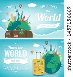 travel composition with famous... | Shutterstock .eps vector #1457156669