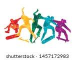 skate people silhouettes... | Shutterstock .eps vector #1457172983