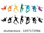 skate people silhouettes... | Shutterstock .eps vector #1457172986