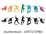 skate people silhouettes... | Shutterstock .eps vector #1457172986