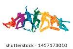 skate people silhouettes... | Shutterstock .eps vector #1457173010