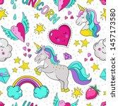 doodle unicorn pattern....   Shutterstock .eps vector #1457173580