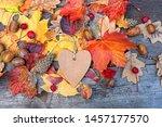 Autumn Background. Heart Blank...