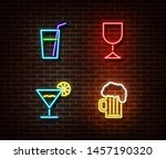 neon alcohol drinks signs... | Shutterstock .eps vector #1457190320