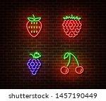 neon vegetables berrys signs...   Shutterstock .eps vector #1457190449