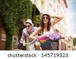 happy couple chasing each other ... | Shutterstock . vector #145719323