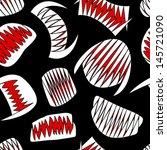 halloween bloody teeth on black seamless pattern - stock vector