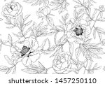 peony flowers. seamless pattern ... | Shutterstock .eps vector #1457250110