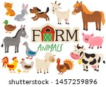 set of isolated cute farm... | Shutterstock .eps vector #1457259896