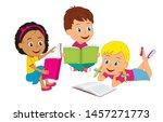 cartoon kids boy and girls read ...   Shutterstock .eps vector #1457271773