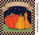 primitive pumpkins country...   Shutterstock .eps vector #1457280659