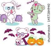 cute little halloween horror... | Shutterstock .eps vector #1457284940