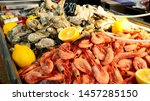 Fresh Raw Oysters And Shrimps...