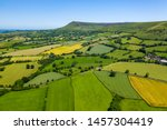 aerial view of green fields and ...
