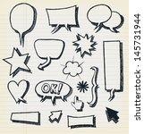 doodle speech bubbles and... | Shutterstock .eps vector #145731944