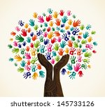 colorful multi cultural... | Shutterstock .eps vector #145733126