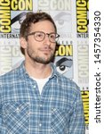 andy samberg attends 2019 comic ... | Shutterstock . vector #1457354330