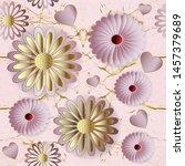 floral 3d vector seamless...   Shutterstock .eps vector #1457379689
