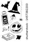 happy halloween vector set  ... | Shutterstock .eps vector #1457382203