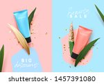 cosmetic cream in blue and pink ...   Shutterstock .eps vector #1457391080