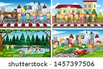 set of scenes in nature setting ... | Shutterstock .eps vector #1457397506