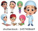 muslim kids collection  vector... | Shutterstock .eps vector #1457408669