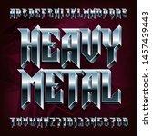 3d heavy metal alphabet font....   Shutterstock .eps vector #1457439443