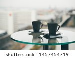 Two Cup Tea Or Coffee On Table...