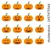 set of halloween pumpkins... | Shutterstock .eps vector #1457475566