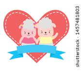cute couple sheep animals heart ... | Shutterstock .eps vector #1457481803