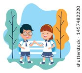 students boy and girl back to... | Shutterstock .eps vector #1457482220