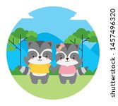 cute couple raccoon animal... | Shutterstock .eps vector #1457496320