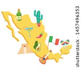 mexico map with set cultural... | Shutterstock .eps vector #1457496353