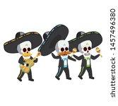 mexican skulls mariachis... | Shutterstock .eps vector #1457496380