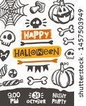 happy halloween. hand drawn... | Shutterstock .eps vector #1457503949
