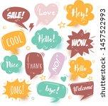 a set of comic speech bubbles... | Shutterstock .eps vector #1457522993